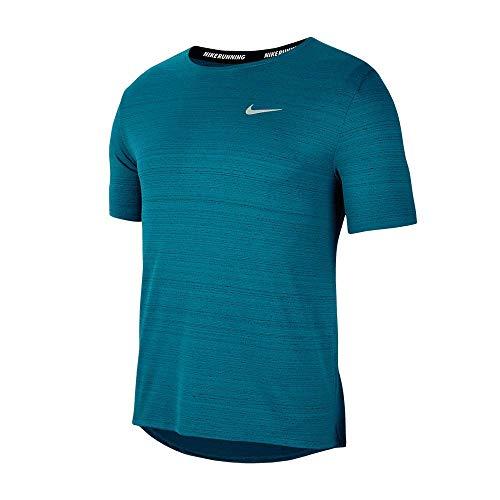 NIKE DF Miler, Camiseta Hombre, Green Glow/Reflective Silv, L