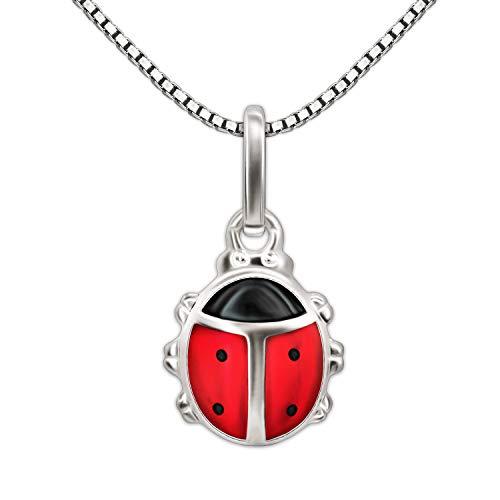 CLEVER SCHMUCK-SET argento Mini-coccinella'rosso nero' con catena Venezia 36 cm in argento 925