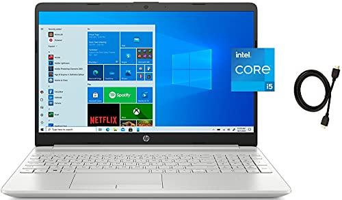 2021 HP 15.6' FHD IPS Premium Laptop, 11th Gen Intel Quad-Core i5-1135G7 upto 4.2GHz, 16GB RAM, 512GB PCIe SSD, Intel Iris Xe Graphics, USB-C, Card Reader, Windows 10 Home + Woov 4K HDMI Cable, Silver