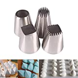 Piping Nozzles, 4 Pieces Stainless Steel Square Round Icing Piping Tips Cake Cookie Cupcakes Pastry Decorating Tools