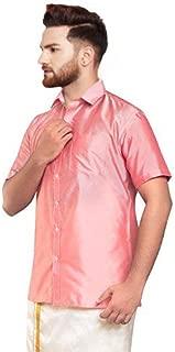 SJS-Men's Half Sleeve Solid Art Silk Shirt (Light Pink, 36)