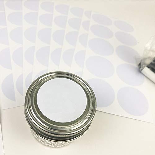 BLOUR 6Sheet / Set Adesivo Bianco Adesivo per Bottiglia 5cm Lavagna Rotonda Adesivo in PVC Adesivo Pratico per Lavagna Adesivo per Barattolo da Cucina
