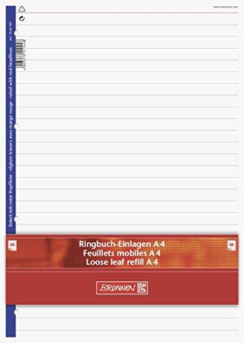 Brunnen 1066901 Ringbucheinlagen A4 (liniert mit roter Kopflinie, 50 Blatt, 70 g/m²)