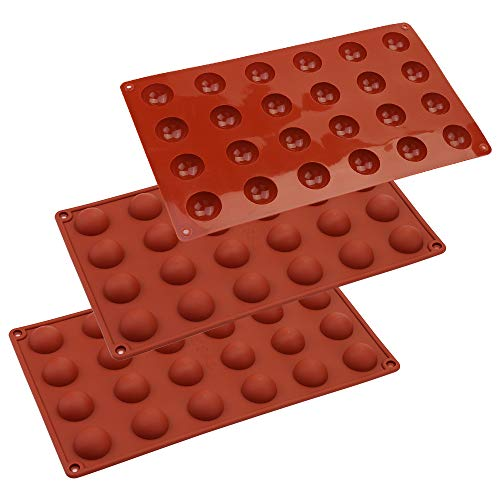 Vegena 3 Packungen Mini Halbkugel Silikonform mit 24 Vertiefungen, Backform Backwerkzeug Schokoladenform Weihnachten Kuchenform Silikon Backform Muffinform für Kuchen, Gelee, Kuppel-Mousse