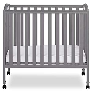 Dream On Me 3-in-1 Folding Portable Crib, Steel Grey