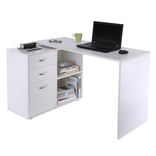 HOMCOM Eckschreibtisch Computertisch Bürotisch Winkelschreibtisch Regal L-Form 117 x 83,5 x 76 cm, I-Form 162 x 50 x 76 cm, Weiß, MDF+Metall