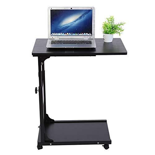 Estink - Mesa informatica con ruedas, escritorio ajustable en altura 55-80 cm, para escritorio, dormitorio, sofá cama, 40 x 60 x 55/80 cm, color negro