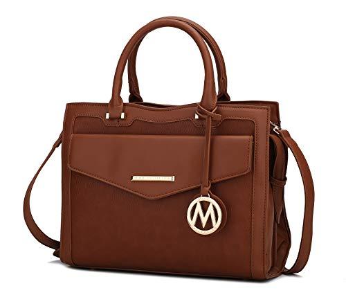 MKF Shoulder Bags for Women – PU Leather Pocketbook Purse, Briefcase Satchel – Crossbody Strap, Top Handle Handbag Alyssa Cognac Brown
