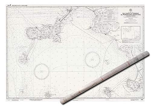 Istituto Idrografico della Marina. 2 Pezzi. IIM 5/D AR Carta Nautica Didattica 5D, Arrotolata Senza Pieghe dal Canale di Piombino al Promontorio Argentario e Scoglio Africa