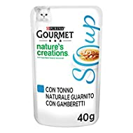 Gourmet Crystal Soup Delicate Broth for Cat, with Natural Tuna, garnished with Shrimp, 40 Grams - Pa...
