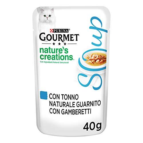 Purina Gourmet Nature 's Creations Soup Soup - Soup para Gatos delicados de brodo con atún Natural, Envuelta con gambas, 32 Sobres de 40 g, Color ciacuna, Paquete de 32 x 40 g