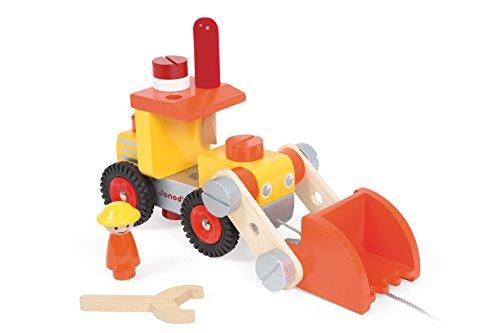 Janod 06495 - Werkzeug-Bagger zum Zusammenbauen aus Holz, 24 Teile