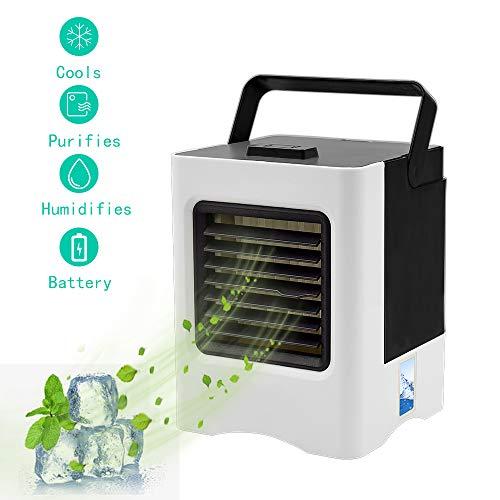 Mobile Klimageräte, Mini Persönliche Klimaanlage, 4 in 1 Luftkühler, Ventilator, Luftbefeuchter, Lufterfrischer mit 3 Geschwindigkeiten Air Cooler für Schlafzimmer Wohnzimmer Büro Reise