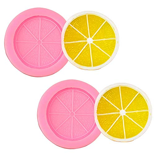 2Pcs Lemon Slice Fondant Mold Orange Fruit Piece Silicone Chocolate Candy Cake Cupcake Decorating Tool Polymer Clay Epoxy Resin Mold