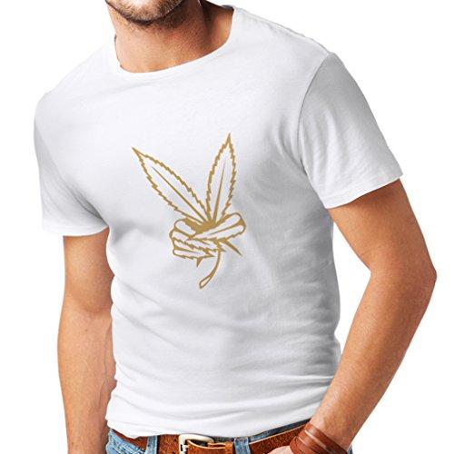 lepni.me T-Shirt pour Hommes Feuille de Marijuana, Signe de la Paix, Festival Hippie des années 60 à 70 (Small Blanc Or)