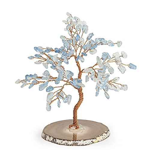 BULABULA Lullaby Feng Shui - Figura decorativa de árbol de cristal (20,3 cm), color aguamarina