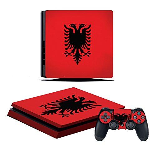 Kompatibel für Playstation 4 Slim Albanien Design PS4 Skin Schutzfolie Faceplate Aufkleber Sticker Cover Folie SET für Konsole + 2 Controller Skins ( Herstellung in Deutschland )