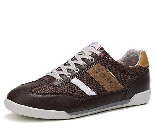 ARRIGO BELLO Zapatos Hombre Vestir Casual Zapatillas Deportivas Running Sneakers Corriendo Transpirable Tamaño 40-46 (43 EU,E Marrón Oscuro)