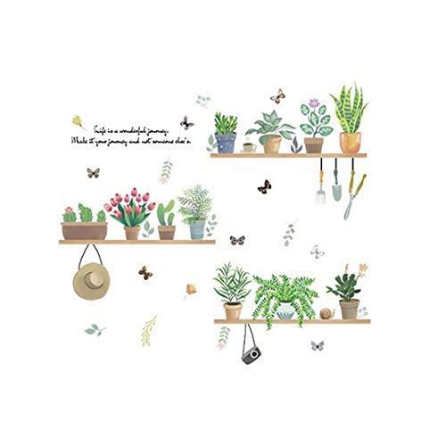YUBIN Planta de jardín en Maceta Bonsai Pegatinas de Pared de Flores para decoración del hogar Sala de Estar Cocina PVC DIY calcomanías de Pared Mural decoración de habitación