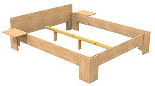 Baßner Holzbau 18mm Echtholzbett Massivholzbett Buche 180x200 Fuß I 40cm Rahmenhöhe
