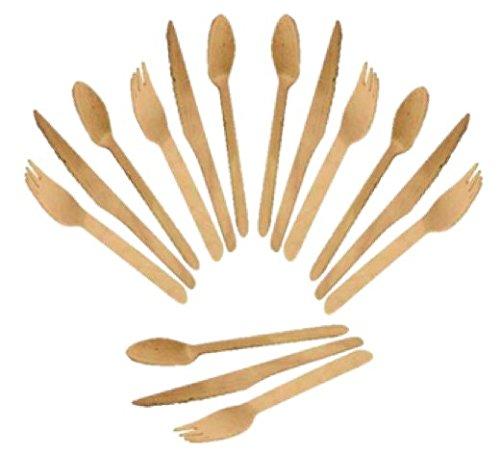 Candycorner Lot de 60 couverts en bois 20 fourchettes 20 couteaux 20 cuillères