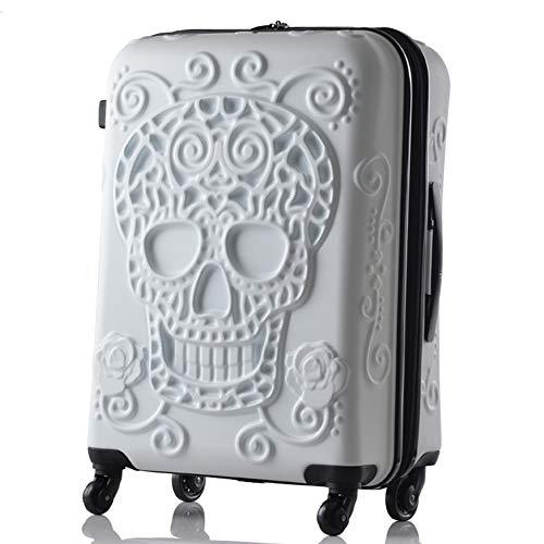 HRUIIOIH Personalisierter Reise-Trolley-Kasten, Harter Shell-Trolley-Kasten-Abs-drehender Felgen-Koffer passend für Geschäftsreise,White,39.1 * 27.4 * 54.6cm
