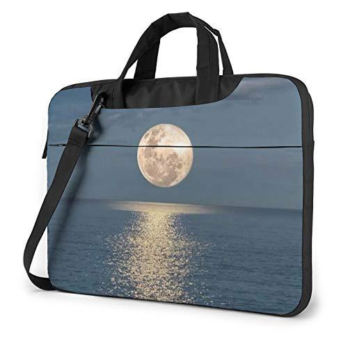Bolsa de hombro para portátil, diseño de gatos negros, a prueba de golpes, impermeable, para portátil, Luna brillante en el mar Hippie (Marrón) - 259841
