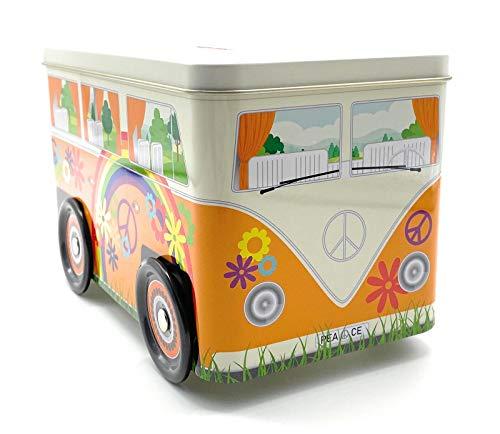 Perfekto24 Bulli Spardose im Hippie Design 'Peace Truck' - Sparbüchse VW Bus - Weißblechdose 19,7 x 10,8 x 11 cm