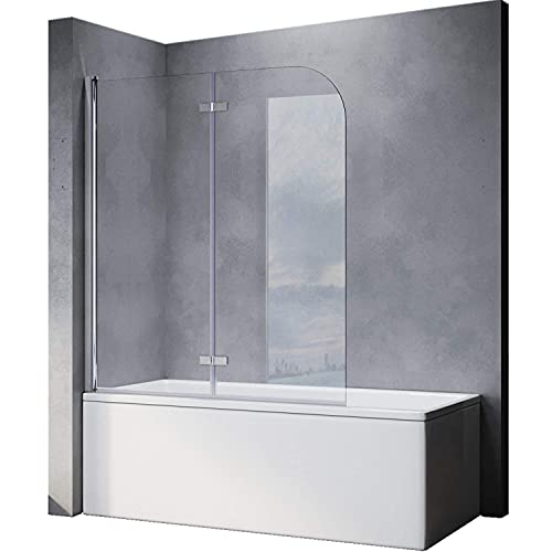 SONNI Duschwand für Badewanne faltbar 2 teilig 120x140 cm 6mm NANO-klarglas Badewannenaufsatz