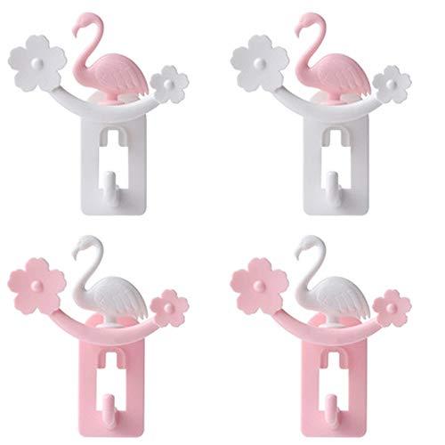 Kapstok Muurbevestiging-Kapstokhaken Creative Hook Set Flamingo Gratis Ponsen No Trace Sticky Strong Hook Simple Household badkamer slaapzaal Keuken Slaapkamer Kantoor Hook Can Be Opknoping Towel Smal
