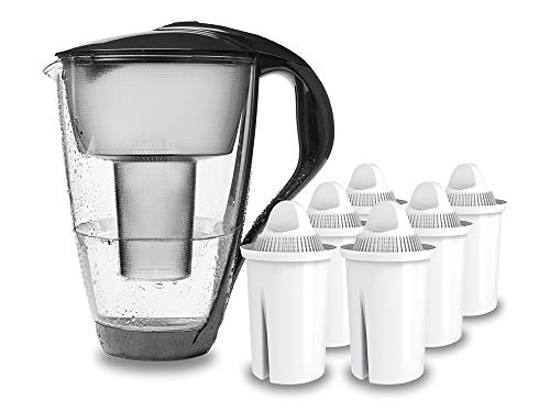 PearlCo - Glas-Wasserfilter (anthrazit) mit 6 classic Filterkartuschen - passt zu Brita Classic