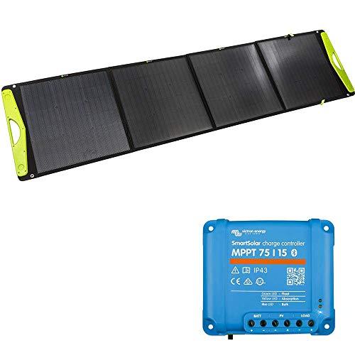 WATTSTUNDE SolarBuddy 200W Solarkoffer - Hardcover Solartasche WS200SB - faltbares Solarmodul direkt mit USB Anschluss am Modul (200W mit 75/15)