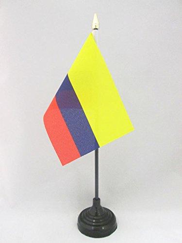 AZ FLAG TISCHFLAGGE KOLUMBIEN 15x10cm goldene splitze - KOLUMBIANISCHE TISCHFAHNE 10 x 15 cm - flaggen