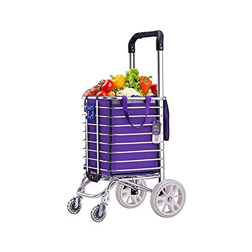WANGYIYI Carrito de Compras Ligero Carro de Compras para el hogar con 35L de Gran Capacidad 16cm Rueda Carritos de Compras portátiles Traje para Terreno Plano
