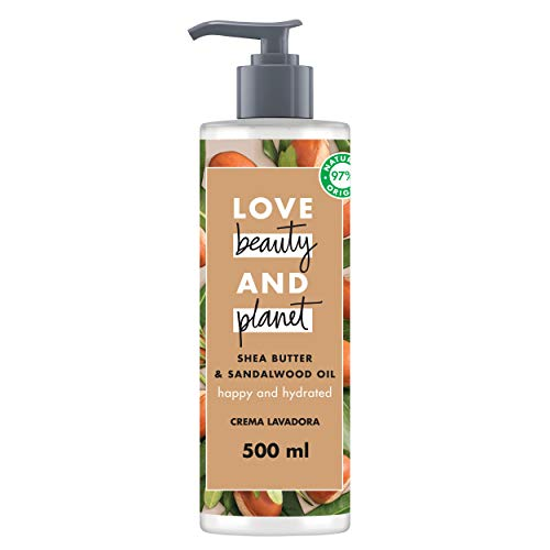 Love Beauty and Planet Crema Limpiadora para Hidratar el Cabello Seco, Manteca de Karité y Sándalo Vegano - 500 ml