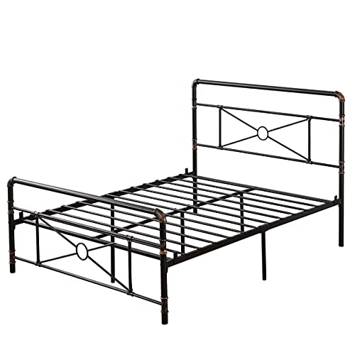 QASIMOF Sturdy Metal Full Size Bed Frame with Headboard and Footboard, No Box Spring Needed and Easy Assembly, Platform Base Wrought Iron Bed Frame Full Black (Water Pipe Crossing,4 Ft 6)