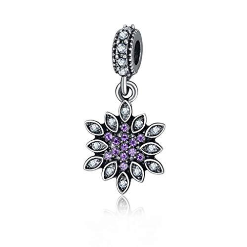 Colgantes De Plata 925 para Mujer,Moda Chainless Romántico Púrpura Lindo Circón Encante Forma De Copo De Nieve para Damas Accesorios Joyas Regalo De Cumpleaños Parte Accesori