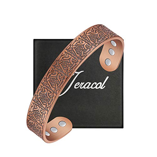 Jeracol Copper Bracelets for Arthritis Men Women Magnetic Therapy Bracelet for Carpal Pain Relief with 6 Pieces Powerful Magnets Retro Pattern Health Gifts Adjustable Size with Gift Box