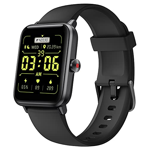 Lintelek Smartwatch für Damen Herren, 1.55 Zoll HD Touch Farbdisplay mit Live Hintergrundbild Fitness Tracker Pulsuhr Schalfmonitor Smart Watch 5ATM Wasserdicht Schrittzähler für iOS Android
