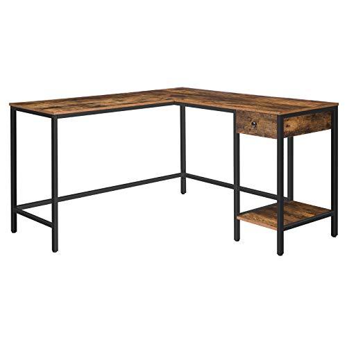 HOOBRO Großer Schreibtisch, Computertisch in L-Form, Eckschreibtisch mit Schublade und Regalen, Bürotisch mit Platz für 2 Computer, Gaming Tisch, robust und stabil, platzsparend EBF135DN01G1