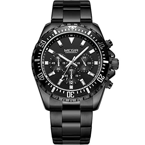 MEGIR Reloj de pulsera analógico de cuarzo para hombre, con cronógrafo, resistente al agua, esfera redonda negra con lujosa correa de acero inoxidable negra