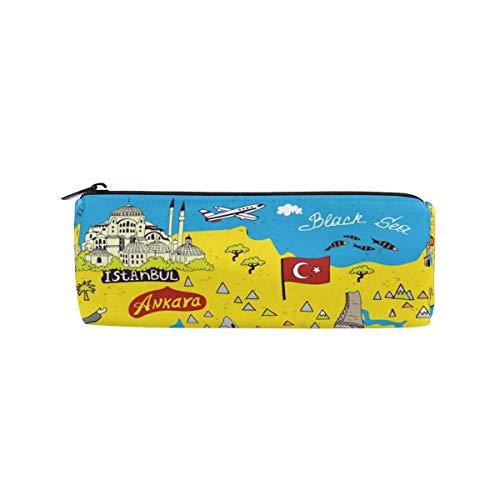 BONIPE Beach World Map Turkije Potlood Case Pouch Bag School briefpapier Pen Box Rits Cosmetische Make-up Bag