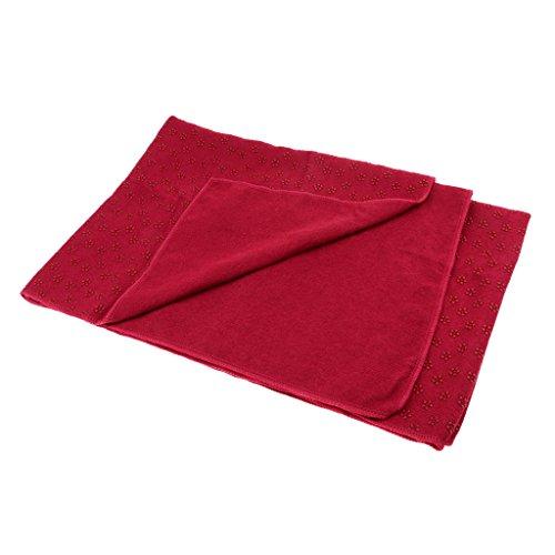 Sharplace Mikrofaser Yoga Handtuch rutschfest Yogamattenauflage 180x60cm für Yoga und Pilates - Rot