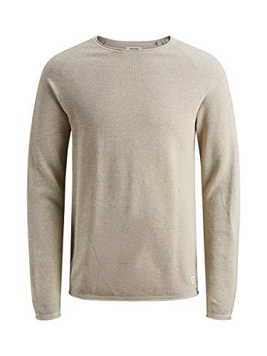 JACK & JONES Herren JJEHILL Knit Crew Neck NOOS Pullover, Elfenbein(oatmealmelange), Small (Herstellergröße: S)