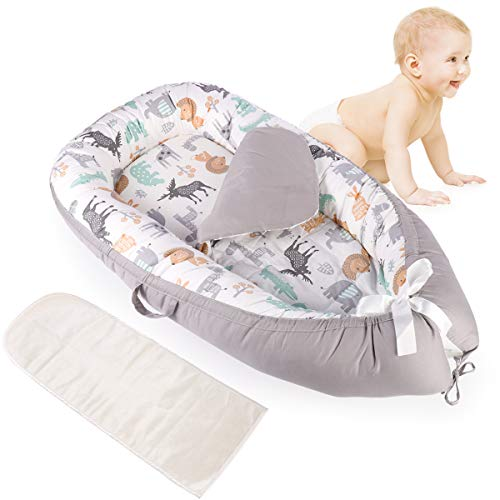 Baby Lounger Breathable & Hypoallergenic Cotton Baby Bassinet for Bed/Lounger/Nest/Cot Bed/Sleeping pod, Portable Cosleeping Baby Nest with 2 Replaceable Mattresses (0-24 Months)
