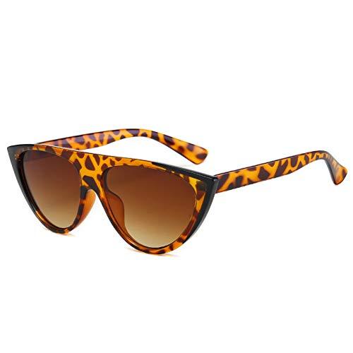 YIERJIU Gafas de Sol Nuevas Gafas de Sol con Estilo Cat Eye Mujeres Hombres uv400 Gafas con Espejo Top Plano Rojo Gafas únicas oculos de Sol Leopardo Negro,k