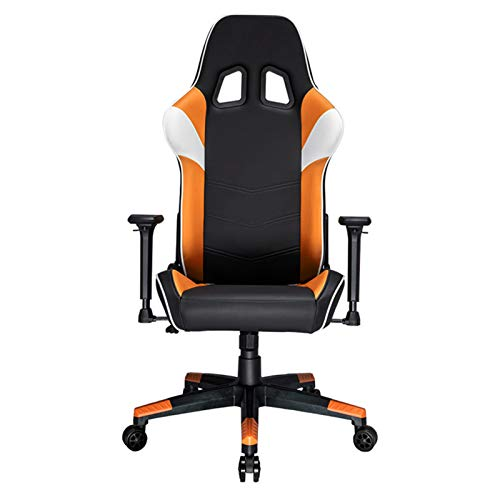 LXFTK Pc Racing Game Chair, Ergonomic Gaming Chair Home Pu Leather Office Computer Chair Adjustable Swivel Chair Reclining Lift Boss Chair-Orange