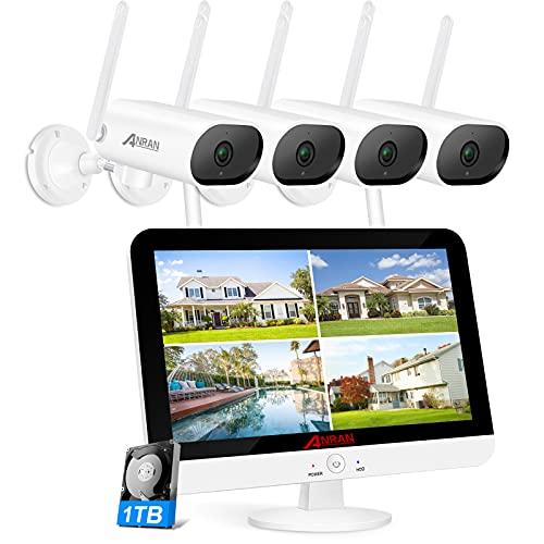 [Gegensprechfunktion] ANRAN Überwachungskamera Set mit Monitor 5MP WLAN Überwachungskamera mit Gegensprechfunktion 1920P HD Kamera für Außen/Innen, Nachtsicht Bewegungsmelder 1TB Festplatte eingebaut