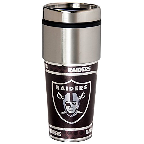 NFL Oakland Raiders 16 oz. Stainless Steel Travel Tumbler with Metallic Graphics, Team Color