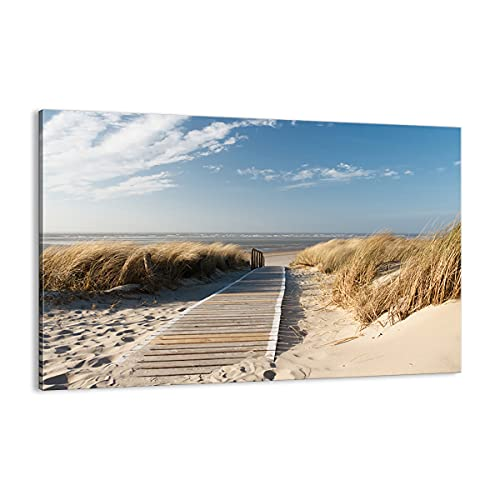 Quadro su tela - Elemento unico - Spiaggia Mare Ponte pedonale riva - 120x80cm - Pronto da appendere - Home Decor - Stampe su Tela - Quadri Moderni - completamente incorniciato - AA120x80-2657